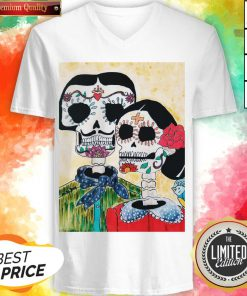 Amor Couple Sugar Skulls Day Of The Dead V-neck