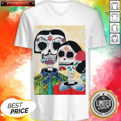Amor Couple Sugar Skulls Day Of The Dead V-neck