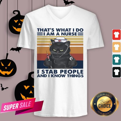 Black Cat That's What I Do I Am A Nurse I Stab People And I Know Things Vintage Retro V-neck