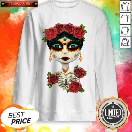 Catrina Sugar Skull Girl Day Of The Dead Muertos Sweatshirt
