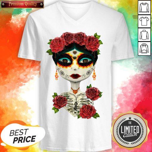Catrina Sugar Skull Girl Day Of The Dead Muertos V-neck
