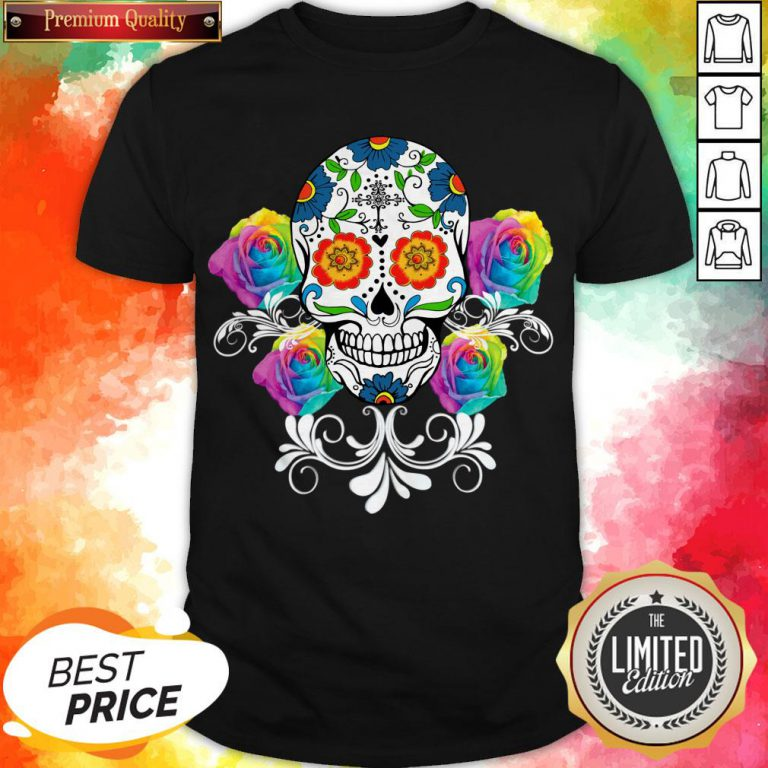 Colorful Day Of The Dead Sugar Skulls Pullover Shirt