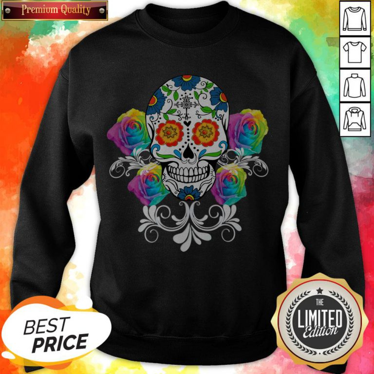 Colorful Day Of The Dead Sugar Skulls Pullover Sweatshirt