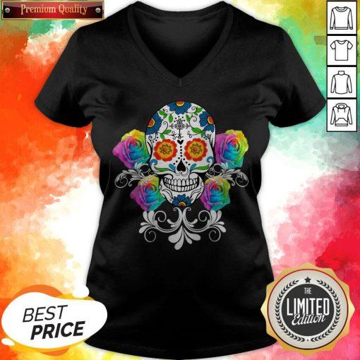 Colorful Day Of The Dead Sugar Skulls Pullover V-neck