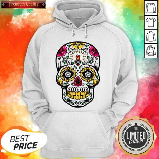 Colorful Floral Sugar Skull Dia De Los Muertos Hoodie