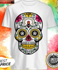 Colorful Floral Sugar Skull Dia De Los Muertos Shirt
