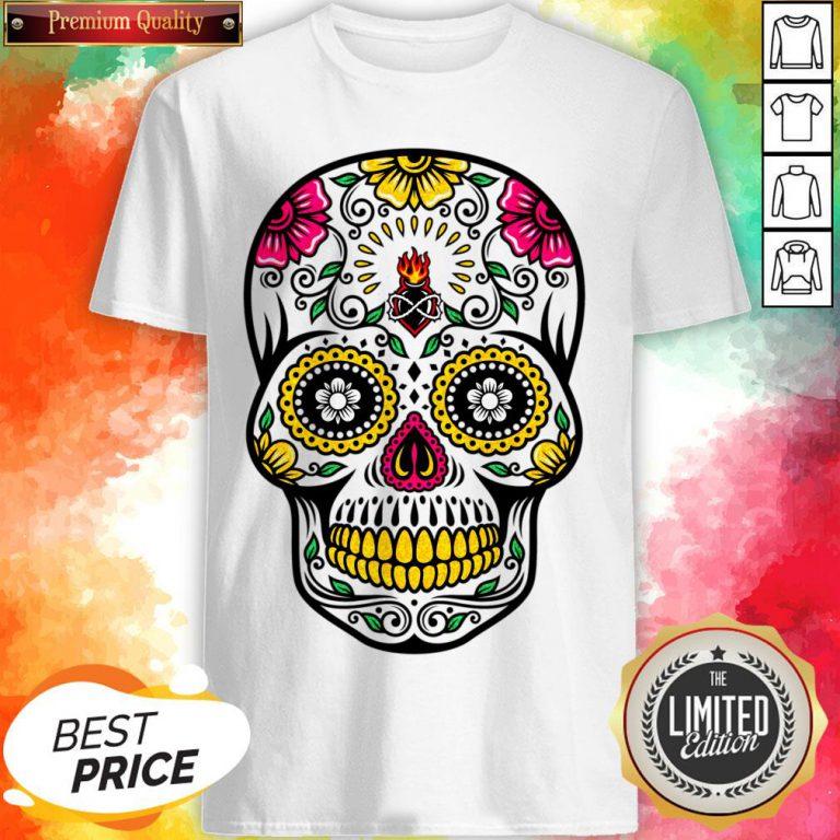 Colorful Floral Sugar Skull Dia De Los Muertos Shirt