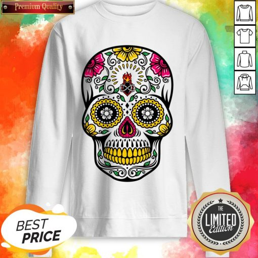 Colorful Floral Sugar Skull Dia De Los Muertos Sweatshirt