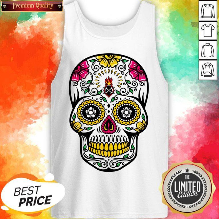 Colorful Floral Sugar Skull Dia De Los Muertos Tank Top