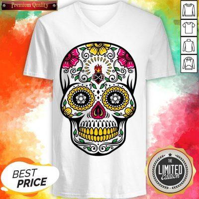 Colorful Floral Sugar Skull Dia De Los Muertos V-neck