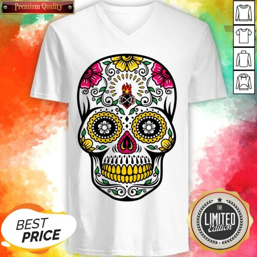 Colorful Floral Sugar Skull Dia De Los Muertos V-neck