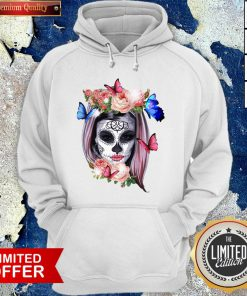 Colorful Sugar Skull Camila Buttlefly Girl Día De Los Muertos Halloween Hoodie