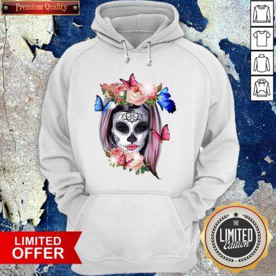 Colorful Sugar Skull Camila Buttlefly Girl Día De Los Muertos Halloween Hoodie