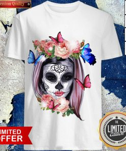 Colorful Sugar Skull Camila Buttlefly Girl Día De Los Muertos Halloween Shirt