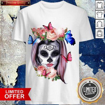 Colorful Sugar Skull Camila Buttlefly Girl Día De Los Muertos Halloween Shirt