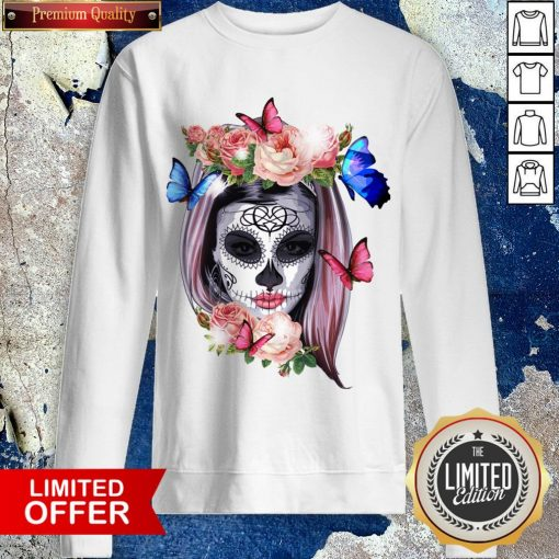 Colorful Sugar Skull Camila Buttlefly Girl Día De Los Muertos Halloween Sweatshirt