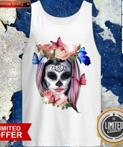 Colorful Sugar Skull Camila Buttlefly Girl Día De Los Muertos Halloween Tank Top
