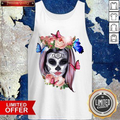 Colorful Sugar Skull Camila Buttlefly Girl Día De Los Muertos Halloween Tank Top