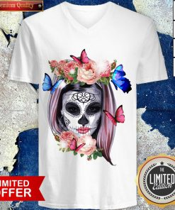 Colorful Sugar Skull Camila Buttlefly Girl Día De Los Muertos Halloween V-neck