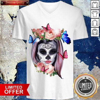 Colorful Sugar Skull Camila Buttlefly Girl Día De Los Muertos Halloween V-neck