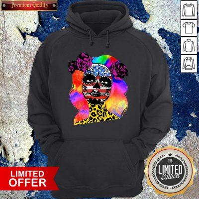 Colorful Sugar Skull Leopard Cheetah America Girl Día De Los Muertos Halloween Hoodie