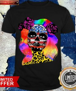 Colorful Sugar Skull Leopard Cheetah America Girl Día De Los Muertos Halloween Shirt