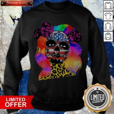 Colorful Sugar Skull Leopard Cheetah America Girl Día De Los Muertos Halloween Sweatshirt