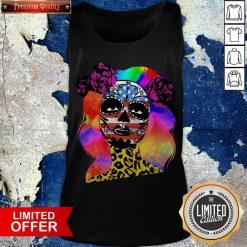 Colorful Sugar Skull Leopard Cheetah America Girl Día De Los Muertos Halloween Tank Top