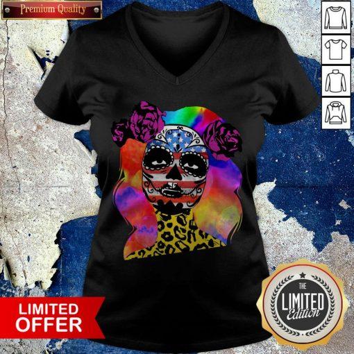 Colorful Sugar Skull Leopard Cheetah America Girl Día De Los Muertos Halloween V-neck