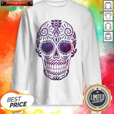 Day Of The Dead Sugar Skull In Space Sweatshirt