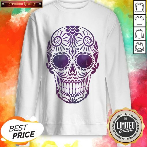 Day Of The Dead Sugar Skull In Space Sweatshirt