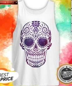Day Of The Dead Sugar Skull In Space Tank Top