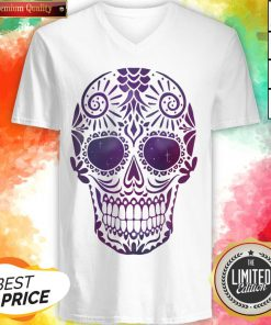 Day Of The Dead Sugar Skull In Space V-neck