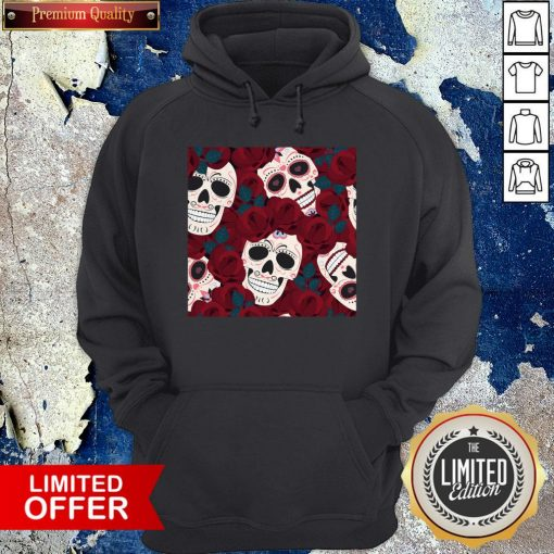 Day Of The Dead Sugar Skulls Roses Dia De Los Muertos Halloween Hoodie
