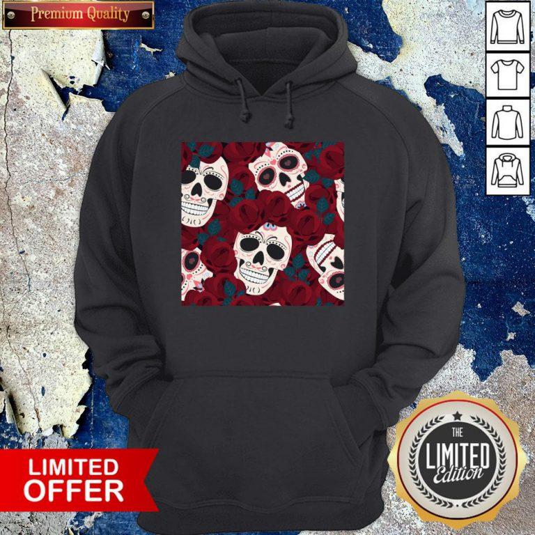 Day Of The Dead Sugar Skulls Roses Dia De Los Muertos Halloween Hoodie
