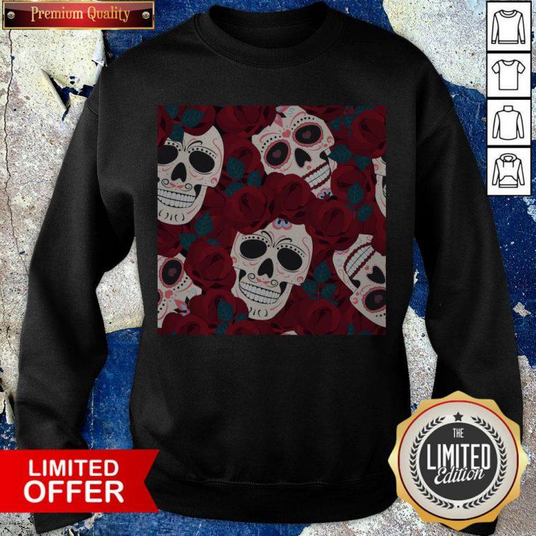 Day Of The Dead Sugar Skulls Roses Dia De Los Muertos Halloween Sweatshirt