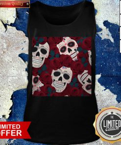 Day Of The Dead Sugar Skulls Roses Dia De Los Muertos Halloween Tank Top