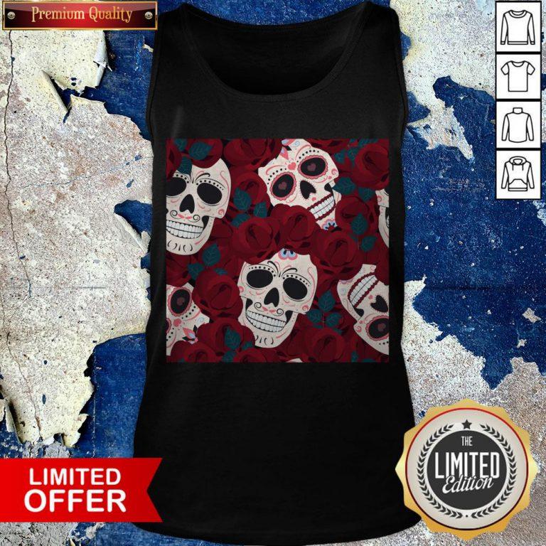 Day Of The Dead Sugar Skulls Roses Dia De Los Muertos Halloween Tank Top
