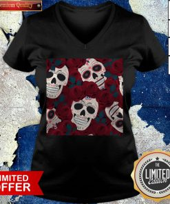 Day Of The Dead Sugar Skulls Roses Dia De Los Muertos Halloween V-neck