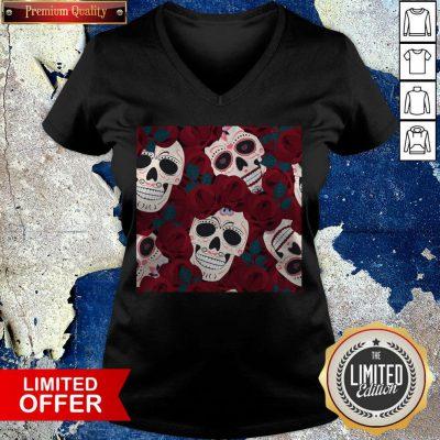 Day Of The Dead Sugar Skulls Roses Dia De Los Muertos Halloween V-neck