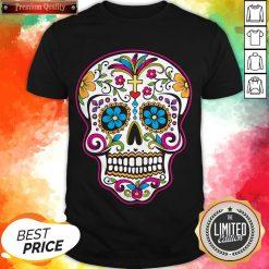 Dia De Los Muertos Sugar Skull In Mexican Shirt