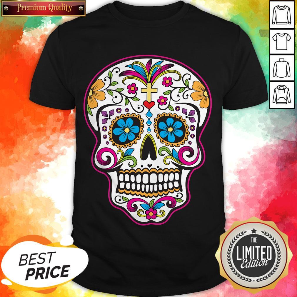 Dia de los Muertos Blouse Size Large Womens Mexican Blouse Sugar Skull Shirt Dia de los Muertos Shirt Mexican Sugar Skull Blouse