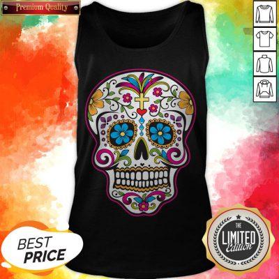 Dia De Los Muertos Sugar Skull In Mexican Tank Top