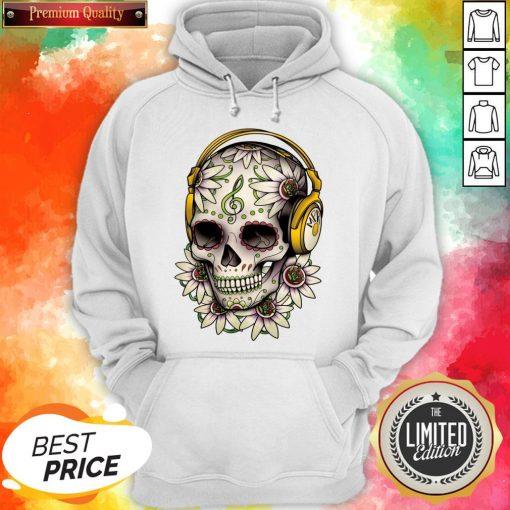 Dj Sugar Skull Headphones Music Halloween Day Of The Dead Muertos Hoodie