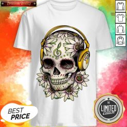 Dj Sugar Skull Headphones Music Halloween Day Of The Dead Muertos Shirt
