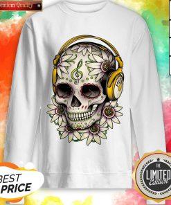 Dj Sugar Skull Headphones Music Halloween Day Of The Dead Muertos Sweatshirt