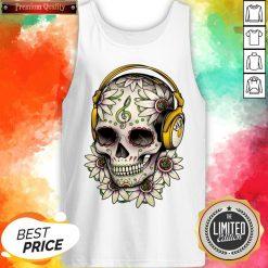 Dj Sugar Skull Headphones Music Halloween Day Of The Dead Muertos Tank Top