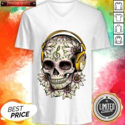 Dj Sugar Skull Headphones Music Halloween Day Of The Dead Muertos V-neck