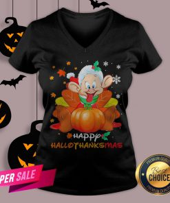 Dwarfs Sleepy Pumpkin Happy Hallothanksmas V-neck