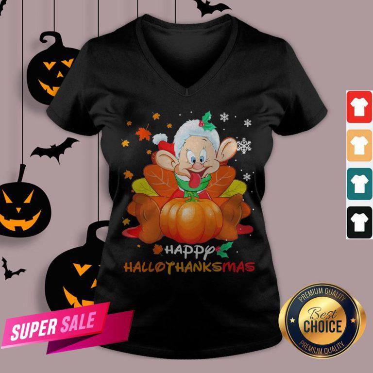 Dwarfs Sleepy Pumpkin Happy Hallothanksmas V-neck